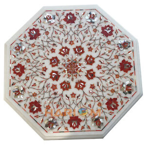 """14"""" White Marble Side Top Coffee Table Carnelian Floral Inlay Garden Decors W078"""