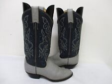 Justin Gray Blue Leather Cowboy Boots Womens Size 6.5 B Style L4569 USA