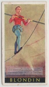 Young Blondin French Tightrope Walker Acrobat Niagara Gorge 1930s Ad Trade Card