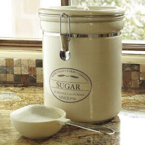 CHEFS Fresh Valley Farm SUGAR CANISTER & SCOOP High Quality Glazed Stoneware