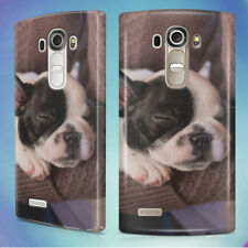 WHITE AND BLACK PUPPY FRENCH BULLDOG 1 HARD BACK CASE COVER FOR LG PHONES