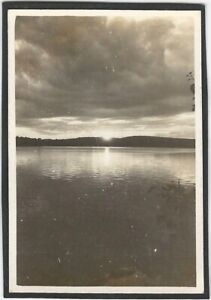 Dramatic Sunset in Storm Clouds at Lake Evening Vintage Outdoor Water Snapshot