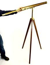 LARGE antique brass refracting telescope, John Bateman of London, circa 1880
