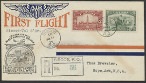 1935 AAMC #3503 Siscoe PQ to Val D'Or Flight Cover, Registered, Winged Airmail