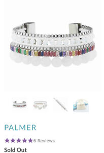 "NEW! Sold Out Victoria Emerson ""Palmer"" Boho Cuff Chain Rainbow w/ White Quartz"