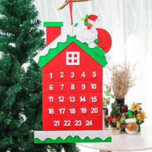 Felt Christmas Advent Calendar Hanging Christmas Countdown Calendar Decor SG