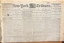 Original New York Tribune Newspaper – January 13, 1863 – Lots of Civil War News