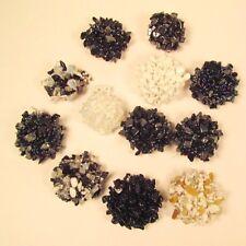 12 PCS WHOLESALE LOT Black White Stone Chip Beaded Elastic Stretch Rings