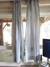 PAIRE RIDEAUX N01 en toile à matelas 2x(h223 L60 CM) Ticking pair of curtain