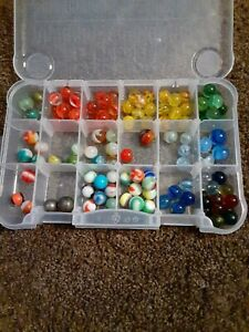 Huge Group Lot Vintage Estate Marbles Collection Large Group w/container