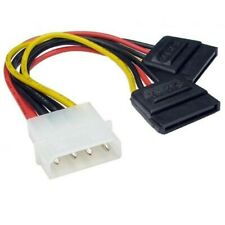 Molex to 2 SATA Dual Power Y Splitter Adaptor Cable Lead 2 Way 4 Pin -15 Pin Kj