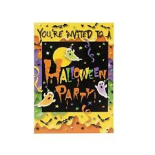 Halloween Party 8 Invitations with Envelopes Ghosts Bats