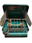 Vintage 1950s Kamp Kook 2 Burner Green Portable Camp Stove Kit MINN USA