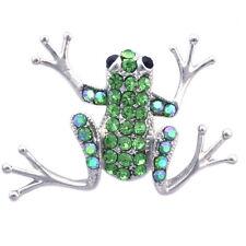 Lime Green Leap Frog Bullfrog Tree Frog Froggy Brooch Pin Women Jewelry p4gr