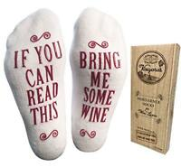 """""""Bring Me Some Wine"""" Luxury Combed Cotton Socks with Gift Box"""