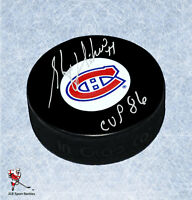Stephane Richer Montreal Canadiens Autographed Puck with 1986 Stanley Cup Inscr