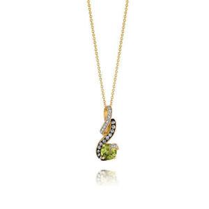 Le Vian Peridot Necklace 1/5 ct tw Diamonds 14K Honey Gold