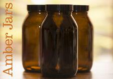 3 x 500ml Amber Glass Wide Mouth Bottle Jar  - Vase aromatherapy spice Kitchen
