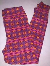Lularoe Pink Purple Print S//M Kids Leggings NEW