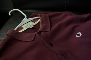 Pre-owned Vintage Fred Perry Bradley Wiggins burgundy polo. White Logo Size: M