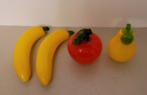 Hand Blown 4 Piece Set Glass Fruit two yellow Bananas , Red Apple & Pear Decor