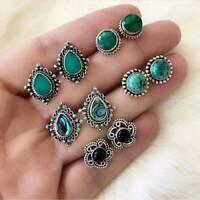 5Pairs/Set Women Vintage Turquoise Earrings Jewelry Ear Stud Bohomia Earrings