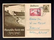 1936 Berlin Germany Olympics Postal Stationery Postcard Cover Zeppelin # C 43