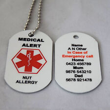 Personalised Medical Alert Necklace for Nut Allergy