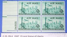 Price is per Each C-35 Wet Printing US Mint Never Hinged Airmail  Plate Blocks