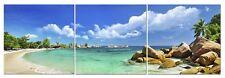 Panoramic Beach Canvas Wall Art Decor - 24x24 3 Piece Set (Total 24x72 inch)