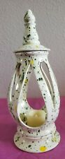 Ceramic Glazed Patio Candle Holder- White with Green and Yellow