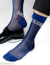 1PR NAVY BLUE RARE SHEER SILKY NYLON DRESS MEN GENTS RETRO SOCK TNT HOSE HOSIERY