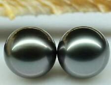 A PAIR 13-14MM TAHITIAN BLACK ROUND LOOSE PEARL UNDRILLED