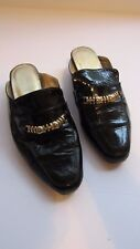Jacques Levine Flats Sz 6 M Black Gold Embellished Patent Leather Slip On Mule