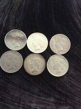 Lot of 6 (Six) Silver Peace Dollars 90% silver. Scrap.Junk 1926-s,1923-D, 1925-S