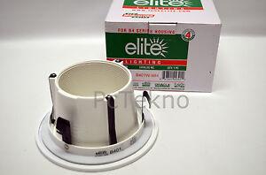 """Elite Lighting  B401W-WH w/  4"""" Stepped Baffle Recessed Light Trim - White NIB"""