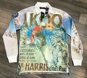 New AKOO Harris Winter Sports Long Sleeve Polo Shirt Mens Medium White 741-9306