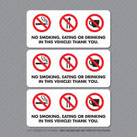 3 x No Smoking Eating Or Drinking Taxi Stickers Minicab Cab Notice - SKU5301