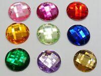 500 Mixed Colour Round Flatback Acrylic Sewing Rhinestone 16mm Sew on beads
