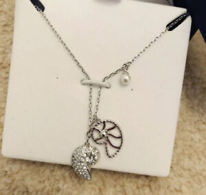 Swarovski Necklace Pendant Silver Shell Pearl Crystal New With Box