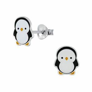 White & Black Penguin Sterling Silver Earrings 10mm