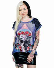 Too Fast Trinity Skull Floral Cosmic Nala Chiffon & Lace Loose Fit Top T-shirt