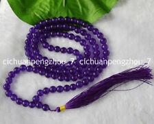 8mm Amethyst Crystal 108 Mala Prayer Beads Buddhist, meditation, Hinduism