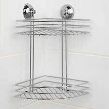Beldray 2 Tier Corner Suction Shower Basket Chrome Bathroom Storage Caddy  Shelf