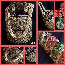 Bollywood Celebrity Style Black Potli Clutch Dolly Bag-Indian Wedding Accessory