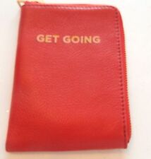 """Fossil Sofia Passport Case- real red- leather-zipper - """"Get Going"""""""