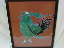 VTG CRAZY ROOSTER FIGHTING COCK BIRD WALL HANGING FOLK ART OUTSIDER PAINTING
