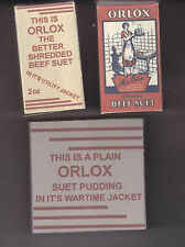 SET OF 3 WW2 BRITISH HOMEFRONT ORLOX BEEF SUET BOXES (REPRO)