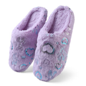 Aerusi Women Heart Slippers Fleece Plush House Indoor Slip On Winter Warm Shoes