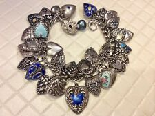 33 Vintage Sterling Silver PUFFY HEART Charm Bracelet Repousse Blue Enamel